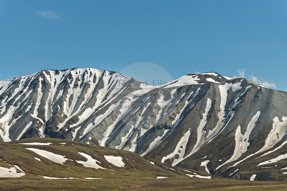 Snow pattern on the hills at Savage River in Denali National Park Alaska. Denali National Park and Preserve encompasses 6 million acres of Alaska's interior wilderness.