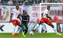 15.09.2016, Red Bull Arena, Salzburg, AUT, UEFA EL, FC Red Bull Salzburg vs FC Krasnodar, Gruppe I, 1. Runde, im Bild Andre Wisdom (FC Red Bull Salzburg), Joaozinho (FC Krasnodar), Dayot Upamecano (FC Red Bull Salzburg) // during the UEFA Europa League, group I, 1st round match between FC Red Bull Salzburg and FC Krasnodar at the Red Bull Arena in Salzburg, Austria on 2016/09/15. EXPA Pictures © 2016, PhotoCredit: EXPA/ JFK