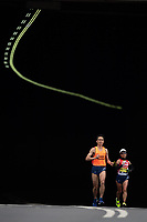 Misato Michishita JPN runs alongside her Guide Runner in the T12 Women World Para Athletics Marathon Championships. The Virgin Money London Marathon, 28 April 2019.<br /> <br /> Photo: Jon Buckle for Virgin Money London Marathon<br /> <br /> For further information: media@londonmarathonevents.co.uk
