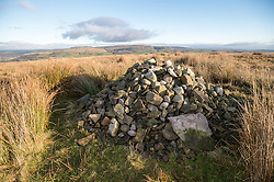 A cairn allegedly  marks the spot where Ellen Strange's body was found after being murdered in 1761, one of the first reported acts of domestic violence. Holcombe Moor, Lancashire