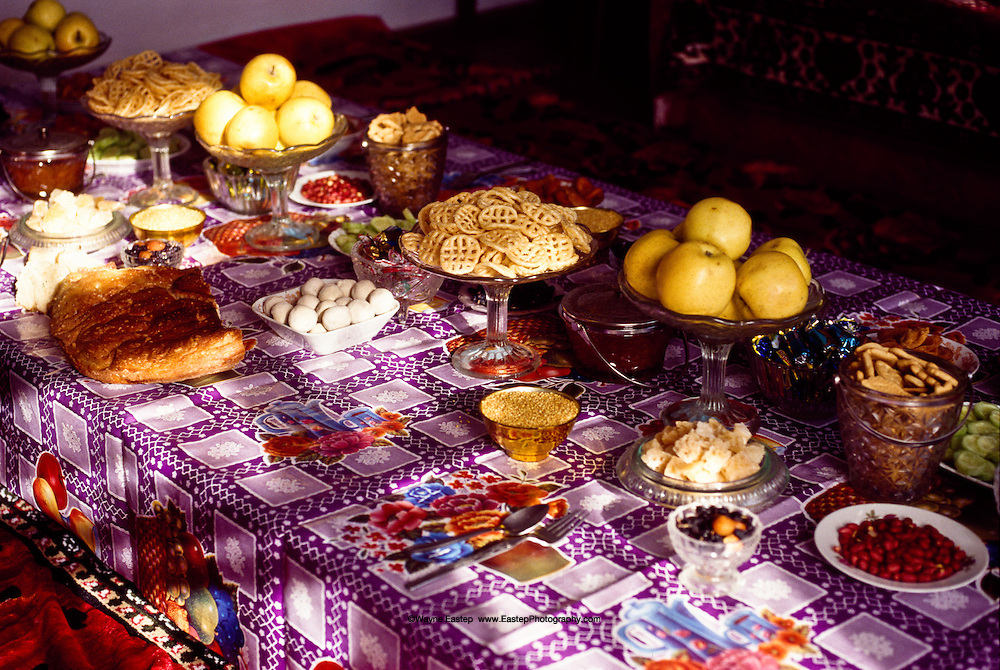 The Dastarqan is a beautiful spread of food prepared and laid on a special tablecloth to welcome guests into the home, such as this one in the village of Shieli in Qizilorda