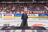 REGINA, SK - MAY 27: Shaun Semple of the Mastercard Memorial Cup host committee walks to centre ice for the ceremonial puck drop at the Brandt Centre on May 27, 2018 in Regina, Canada. (Photo by Marissa Baecker/CHL Images)