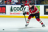 KELOWNA, BC - FEBRUARY 15: Christoffer Sedoff #4 of the Red Deer Rebels passes the puck against the Kelowna Rockets at Prospera Place on February 15, 2020 in Kelowna, Canada. (Photo by Marissa Baecker/Shoot the Breeze)