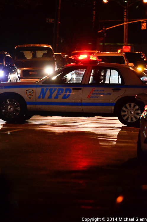 Brooklyn, New York - November 302014:   Police block the streets on the scene of reports of 3 people shot  at 375 Remsen Ave  in New York, New York. Photo Credit: Michael Glenn / For the Daily News