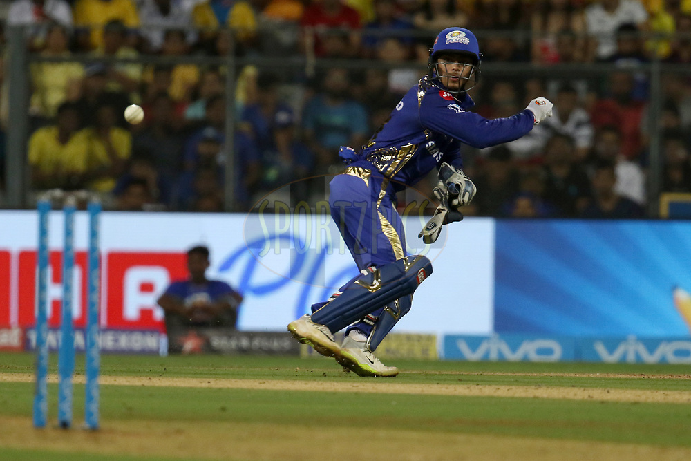 Ishan Kishan of the Mumbai Indians throws the ball at the stumps during match one of the Vivo Indian Premier League 2018 (IPL 2018) between the Mumbai Indians and the Chennai Super Kings held at the Wankhede Stadium in Mumbai on the 7th April 2018.<br /> <br /> Photo by Faheem Hussain / IPL / SPORTZPICS