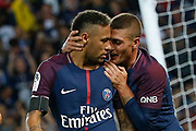 Neymar da Silva Santos Junior - Neymar Jr (PSG) scored a goal and celebrated it with Marco Verratti (psg) during the French championship L1 football match between Paris Saint-Germain (PSG) and Toulouse Football Club, on August 20, 2017, at Parc des Princes, in Paris, France - Photo Stephane Allaman / ProSportsImages / DPPI