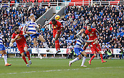 Blackburn Rovers striker, Fode Koita heads gaolbirds from a dangerous looking cross during the Sky Bet Championship match between Reading and Blackburn Rovers at the Madejski Stadium, Reading, England on 20 December 2015. Photo by Andy Walter.