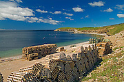 Lobster traps in St. George's Bay<br /> Port Au Port Peninsula<br /> Newfoundland & Labrador<br /> Canada