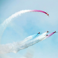 Picture by Christian Cooksey/CookseyPix.com on behalf of South Ayrshire Council. <br /> All rights reserved. For full terms and conditions see www.cookseypix.com<br /> <br /> The Scottish Airshow 2015, Ayr, South Ayrshire.<br /> A Red Arrow loops around his colleagues.
