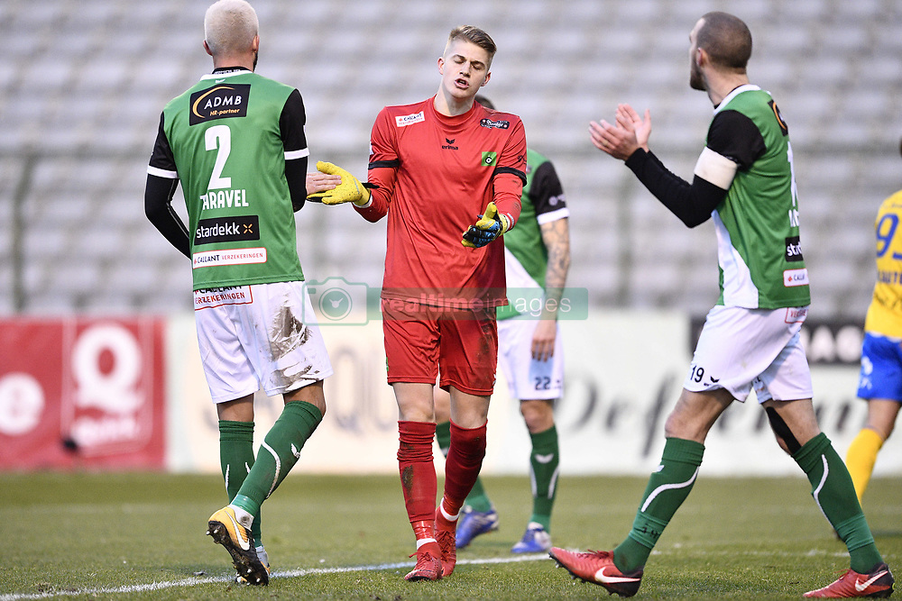 February 17, 2018 - Brussels, BELGIUM - Cercle's goalkeeper Paul Nardi pictured during a soccer game between Union Saint-Gilloise and Cercle Brugge, in Brussels, Saturday 17 February 2018, on day 27 of the division 1B Proximus League competition of the Belgian soccer championship. BELGA PHOTO YORICK JANSENS (Credit Image: © Yorick Jansens/Belga via ZUMA Press)