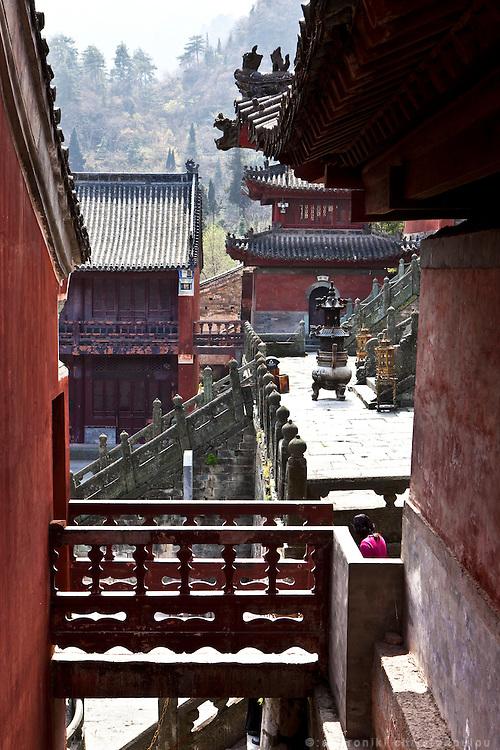 Asia, China, Hubei province.  Purple Heaven Palace taoist temple on Wudang moutain (Wudang-san), a World Heritage mountain with many Taoist monasteries.