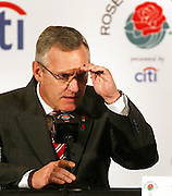 12//31/09  - Ohio State head coach Jim Tressel eyes a reporter while speaking before the media during his final press conference at the downtown L.A. Marriott.