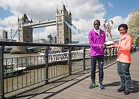 Virgin Money London Marathon 2015<br /> <br /> Winners Photocall<br /> <br /> Left to Right<br /> Eliud Kipchoge Kenya Mens winner<br />  Tigist Tufa Ethiopia Women Winner<br /> <br /> Posing with the Sporting Life Marathon Trophy<br /> <br /> Photo: Bob Martin for Virgin Money London Marathon<br /> <br /> This photograph is supplied free to use by London Marathon/Virgin Money.