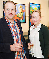 Ger Fitzgibbon and Jenny Tellstrom at Frank O'Sullivan's Exhibition of new work opening at the Town Hall Theatre Galway which runs till Wed the 15th of June. Photo:Andrew Downes, xposure
