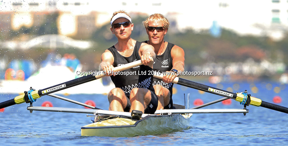 Hamish Bond and Eric Murray of New Zealand during the Mens Pair heat M2.<br /> Rio 2016 Olympics - Day 1 of the Olympic Rowing regatta at Lagoa Stadium, Rio de Janero, Brazil.<br /> 6 August 2016. Copyright photo: www.photosport.nz