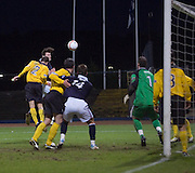 Dundee's Nicky Riley heads home Dundee's third goal - Dundee v Livingston, IRN BRU Scottish Football League, First Division at Dens Park - ..© David Young - .5 Foundry Place - .Monifieth - .Angus - .DD5 4BB - .Tel: 07765 252616 - .email: davidyoungphoto@gmail.com.web: www.davidyoungphoto.co.uk
