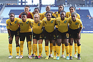 16 October 2014: Jamaica's starters. Front row (left to right): Alicia Wilson (JAM), Christina Murray (JAM), Lauren Silver (JAM), Donna-Kay Henry (JAM), Nicole Campbell-Green (JAM), Sashana Campbell (JAM). Back row (left to right): Nicole McClure (JAM), Venicia Reid (JAM), Sherona Forrester (JAM), Shakira Duncan (JAM), Monique Pryce (JAM). The Jamaica Women's National Team played the Martinique Women's National Team at Sporting Park in Kansas City, Kansas in a 2014 CONCACAF Women's Championship Group B game, which serves as a qualifying tournament for the 2015 FIFA Women's World Cup in Canada. Jamaica won the game 6-0.
