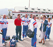1988 Seoul. Korea GBR coaches meet HRH Princess Anne. left to Right, Mike SPRACKLEN, Mike GENCHI, Terry O'NEILL, Steve GUNN. Brian ARMSTRONG team manager talking to HRH.1988 Summer Olympic Games [Mandatory Credit - Guy Hebblewhite/Intersport Images] 1988 Seoul Olympic Games. South Korea