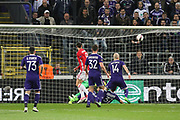 Zlatan Ibrahimovic Forward of Manchester United shoots at goal during the UEFA Europa League Quarter-final, Game 1 match between Anderlecht and Manchester United at Constant Vanden Stock Stadium, Anderlecht, Belgium on 13 April 2017. Photo by Phil Duncan.