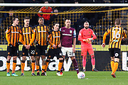 Aston Villa defender John Terry (26) stands in the Hull City wall prior to a free kick being taken during the EFL Sky Bet Championship match between Hull City and Aston Villa at the KCOM Stadium, Kingston upon Hull, England on 31 March 2018. Picture by Mick Atkins.