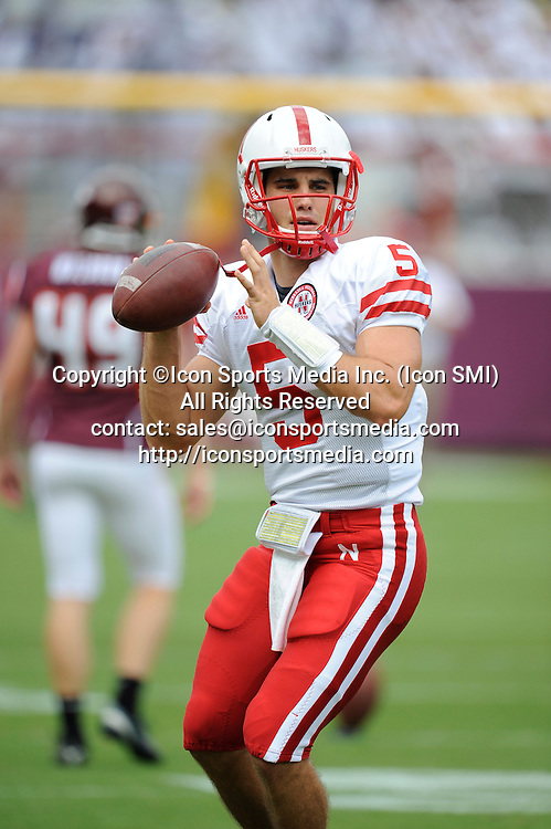 19 September 2009: Nebraska quarterback Zac Lee (5) during the Hokies 16-15 win over the Nebraska Huskers at Worsham Field at Lane Stadium in Blacksburg, VA