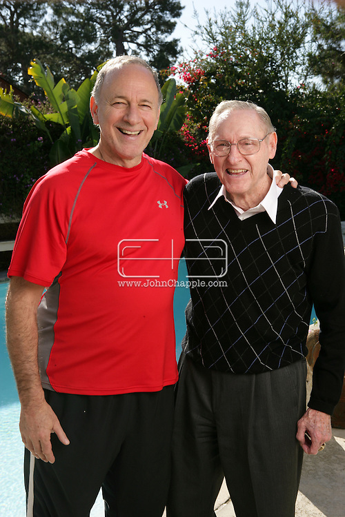19th December 2008. Redondo Beach, California. Former professional basketball player and coach, Bill Sharman (born May 25, 1926 in Abilene, Texas) pictured at his Redondo Beach home. Sharman was enshrined in the Basketball Hall of Fame in 1976 as a player and in 2004, he was also enshrined as a coach. He is one of only three people to be enshrined in both categories. Bill is pictured sports writer, Peter Vecsey. PHOTO © JOHN CHAPPLE / REBEL IMAGES..(001) 310 570 9100   john@chapple.biz   www.chapple.biz