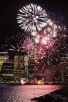 JERSEY CITY, NJ - JANUARY 27:  Macy's-sponsored fireworks show at Liberty State Park on January 27, 2014 in Jersey City, New Jersey.  (Photo by Dave Kotinsky/WireImage)