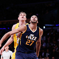 05 December 2016: Utah Jazz center Rudy Gobert (27) vies for the rebound with Los Angeles Lakers center Timofey Mozgov (20) during the Utah Jazz 107-101 victory over the Los Angeles Lakers, at the Staples Center, Los Angeles, California, USA.