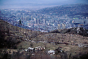Battle scarred hillsides around Sarajevo, Bosnia & Herzegovina. From coverage of revisit to Material World Project family in Sarajevo, Bosnia & Herzegovina, 2001. ©2005 Hungry Planet: What the World Eats