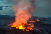 Volcanic eruption in Holuhraun, Iceland. Taken 13th of september 2014. Just before and after sunset.