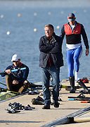 Caversham  Great Britain.<br /> &quot;A man with decisions to make&quot;. Jurgan GROBLER prowls the boating pontoon, at the <br /> 2016 GBR Rowing Team Olympic Trials GBR Rowing Training Centre, Nr Reading  England.<br /> <br /> Tuesday  22/03/2016 <br /> <br /> [Mandatory Credit; Peter Spurrier/Intersport-images]