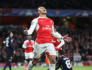 Arsenal striker Alexis Sanchez celebrating scoring during the Champions League match between Arsenal and Dinamo Zagreb at the Emirates Stadium, London, England on 24 November 2015. Photo by Matthew Redman.
