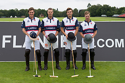 The England Polo team before the match (left to right) Luke Tomlinson, James Harper, Max Charlton and Captain James Beim during the Royal Salute Coronation Cup polo at Windsor Great Park in Surrey.