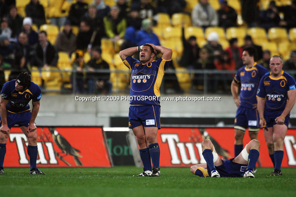 Otago's Kees Meeuws at the final whistle.<br /> Air NZ Cup Ranfurly Shield match - Wellington Lions v Otago at Westpac Stadium, Wellington, New Zealand. Friday, 31 July 2009. Photo: Dave Lintott/PHOTOSPORT