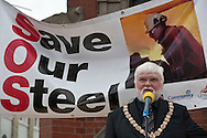 Mayor Brian Briggs speaking at Corus Save Our Steel March Redcar..© Martin Jenkinson, tel 0114 258 6808 mobile 07831 189363 email martin@pressphotos.co.uk. Copyright Designs & Patents Act 1988, moral rights asserted credit required. No part of this photo to be stored, reproduced, manipulated or transmitted to third parties by any means without prior written permission