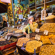 A sore selling nuts and grains at Istanbul's Spice Bazaar. Located in the Eminonu quarter of Istanbul, next to the Galata Bridge, the Spice Bazaar is one of the city's largest and most famous markets. It is also known as the Egyptian Bazaar.