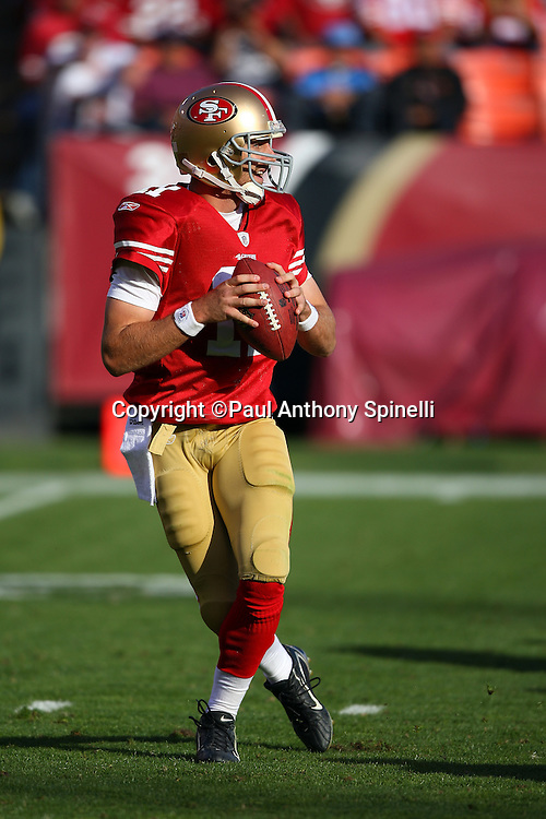 San Francisco 49ers quarterback Alex Smith (11) drops back to pass during the NFL football game against the Tennessee Titans, November 8, 2009 in San Francisco, California. The Titans won the game 34-27. (©Paul Anthony Spinelli)