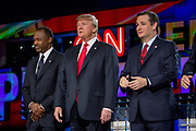 Presidential hopeful Ben Carson (left), Donald Trump and Ted Cruz before the CNN Republican Presidential Debate at the Venetian Hotel and Casino in Las Vegas.