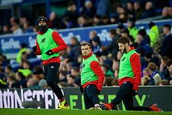 LIVERPOOL, ENGLAND - Sunday, March 3, 2019: Liverpool's substitutes Daniel Sturridge, Xherdan Shaqiri and Adam Lallana warm-up during the FA Premier League match between Everton FC and Liverpool FC, the 233rd Merseyside Derby, at Goodison Park. (Pic by Laura Malkin/Propaganda)