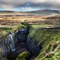 Waterfall at Hull Pot and Pen Y Ghent Horton in Ribblesdale North Yorkshire England