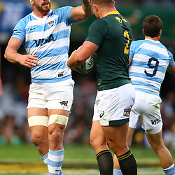 DURBAN, SOUTH AFRICA - AUGUST 18: Marcos Kremer of Argentina has words with Malcolm Marx of South Africa during the Rugby Championship match between South Africa and Argentina at Jonsson Kings Park on August 18, 2018 in Durban, South Africa. (Photo by Steve Haag/Gallo Images)