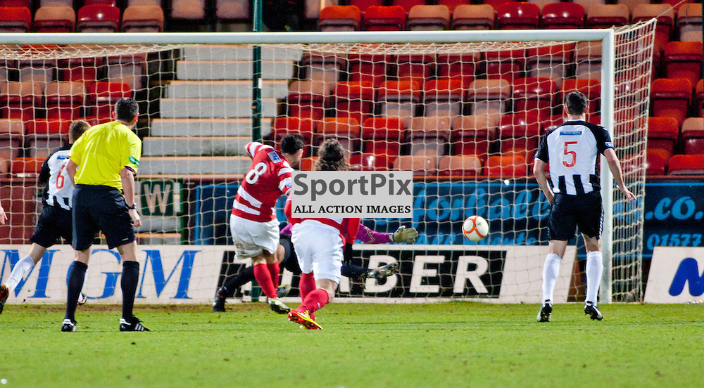 Dunfermline Athletic v Hamilton Irn Bru First Division East End Park 15 December 2012.Gary fisher hits the post while 1 on 1 with the keeper..(c) Craig Brown | StockPix.eu