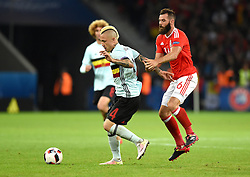 Radja Nainggolan of Belgium battles for the ball with Joe Ledley of Wales  - Mandatory by-line: Joe Meredith/JMP - 01/07/2016 - FOOTBALL - Stade Pierre Mauroy - Lille, France - Wales v Belgium - UEFA European Championship quarter final