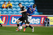 Mansfield Town Defender Lee Collins makes the tackle to stop the run during the Sky Bet League 2 match between Carlisle United and Mansfield Town at Brunton Park, Carlisle, England on 9 April 2016. Photo by Craig McAllister.