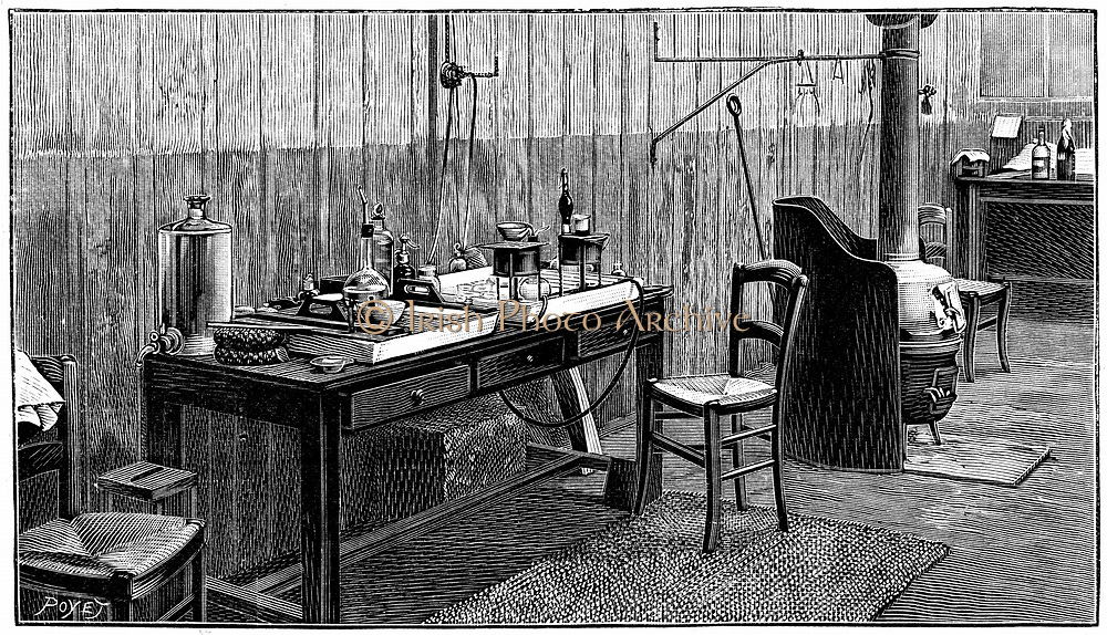 A corner of Pierre and Marie Curie's laboratory, Paris. Engraving published 1904