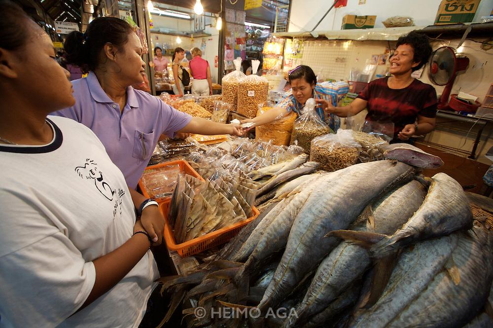 Chatuchak Sunday Market. Dried fish store.