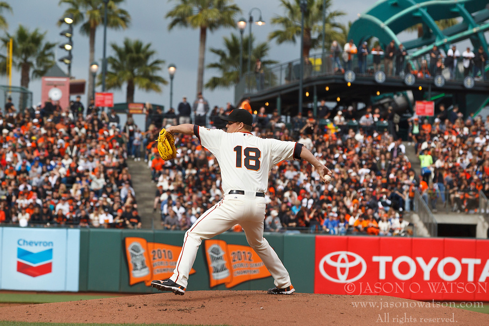 SAN FRANCISCO, CA - MAY 05: Matt Cain #18 of the San Francisco Giants pitches against the Los Angeles Dodgers during the second inning at AT&T Park on May 5, 2013 in San Francisco, California. The San Francisco Giants defeated the Los Angeles Dodgers 4-3. (Photo by Jason O. Watson/Getty Images) *** Local Caption *** Matt Cain