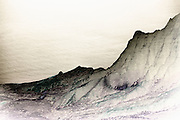 Photo illustration of the Na Pali coast from Waimea Canyon State Park, Kauai, Hawaii, Hawaiian Islands, America West  (toned black & white digital photo-illustration)