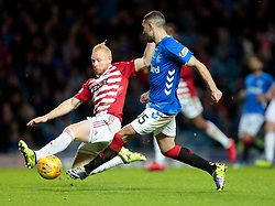 Rangers' Eros Grezda (R) vies with Hamilton Academical's Ziggy Gordon (L) during the Ladbrokes Scottish Premiership match at Ibrox Stadium, Glasgow.