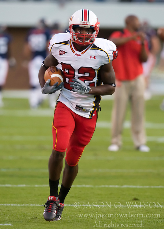 Maryland wide receiver Torrey Smith (82) warms up for the UVA game. The Virginia Cavaliers defeated the Maryland Terrapins 31-0 in NCAA football at Scott Stadium on the Grounds of the University of Virginia in Charlottesville, VA on October 4, 2008.